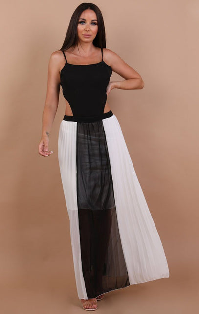 Black and White Open Back Mesh Maxi Dress - Connie