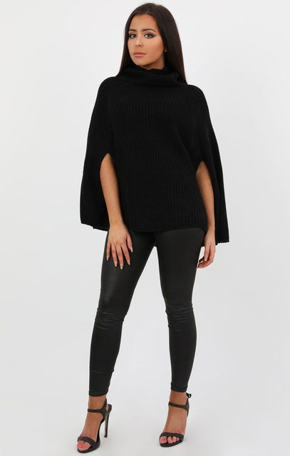 Black High Neck Batwing Knit Jumper - Gemma