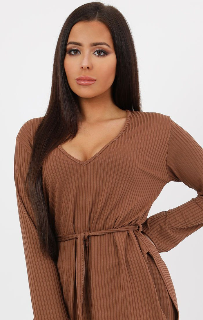 Brown Ribbed belted Loungewear Set -Asia