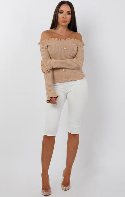 Camel Button Front Bardot Top - Kiara
