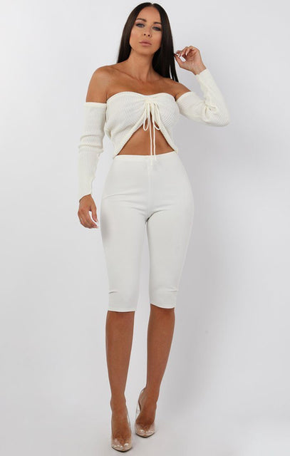 Cream Ribbed Bardot Ruched Front Crop Top - Lea