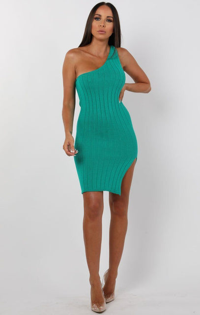 Emerald Knitted One Shoulder Midi Dress - Sorcha