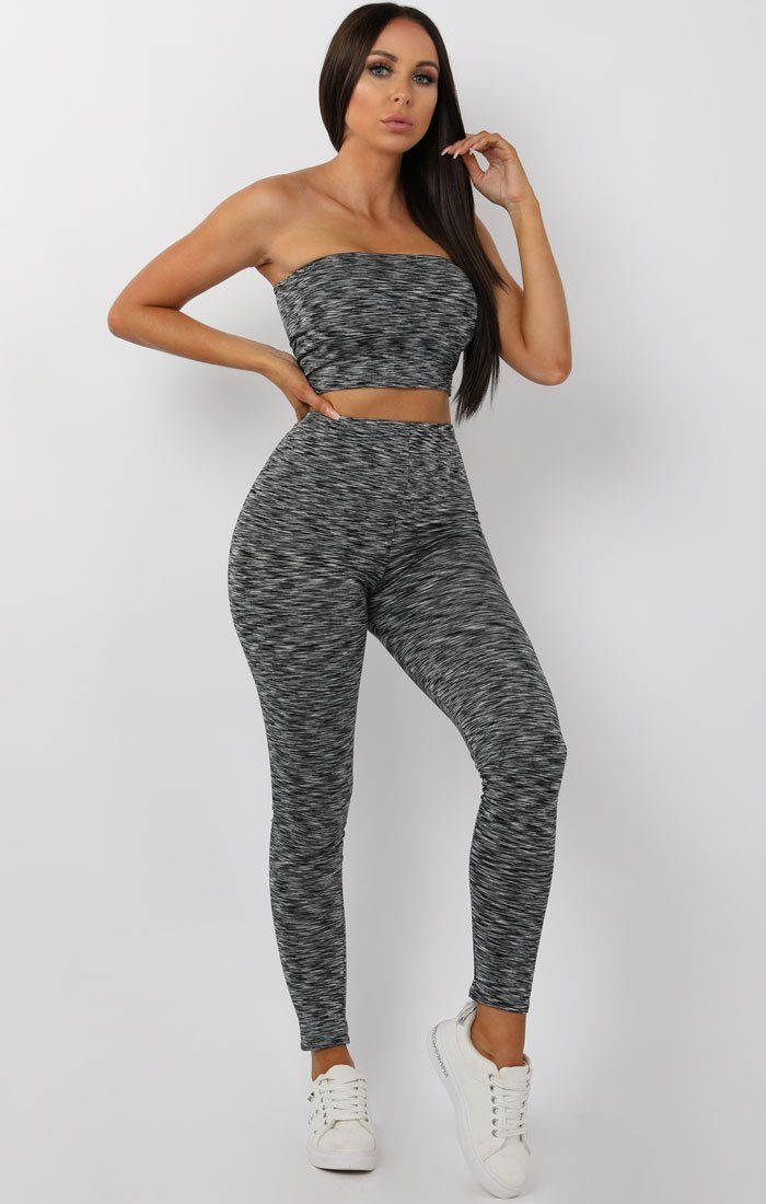 Grey Bandeau Two Piece Co-ord Set - Georgia