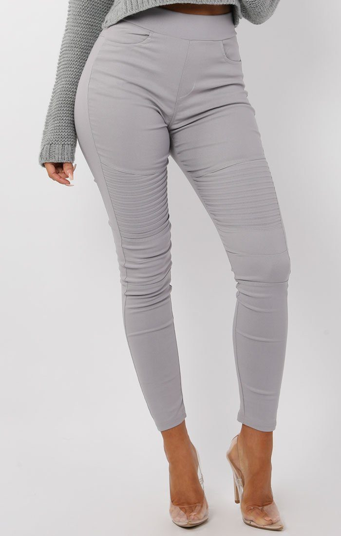 Grey Ribbed Skinny Jeans - Leia
