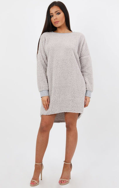Grey Teddy Oversized Jumper Dress - Taliana