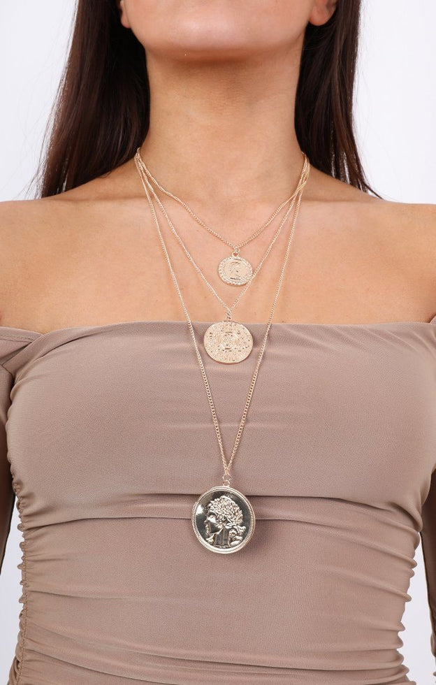 Layered Three Coins Necklace