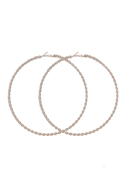Gold Twisted Large Hoops - Alicia