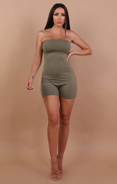 Khaki Basic Bandeau Playsuit - Pippa