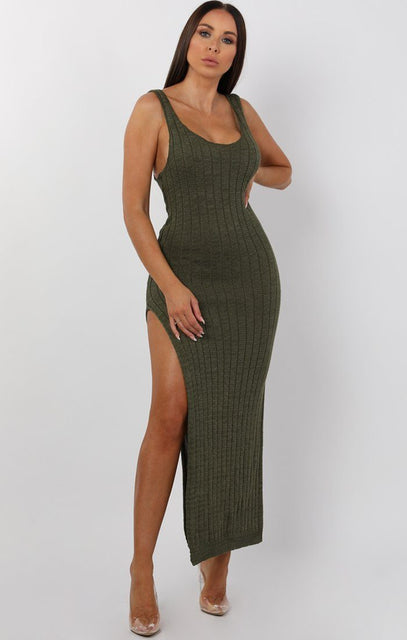 Khaki Cami Knitted Side Split Maxi dress - Thea