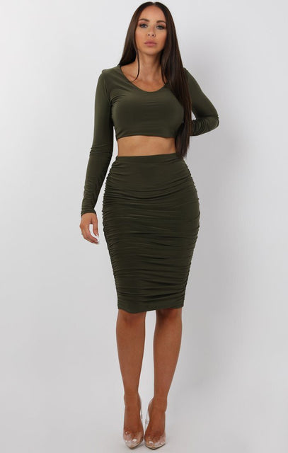 Khaki Ruched Two Piece Co-ord Set - Alyssa