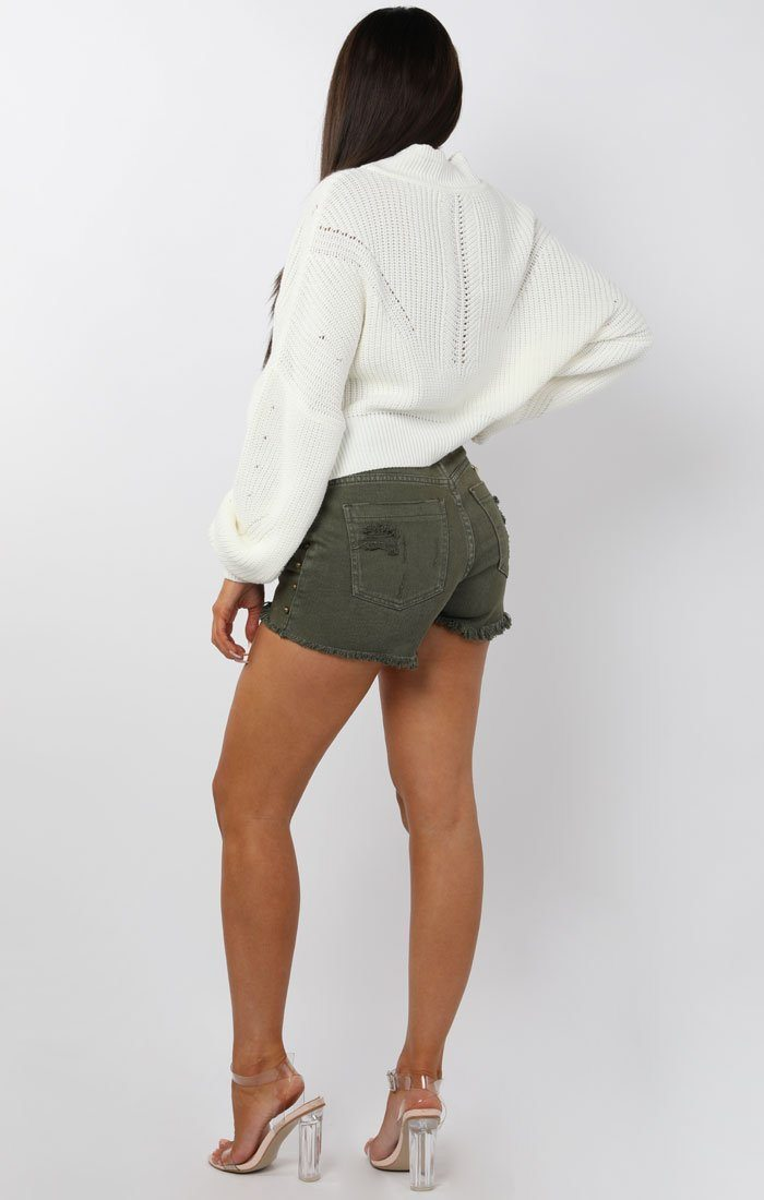 Khaki Studded Distressed Denim Shorts - Lara