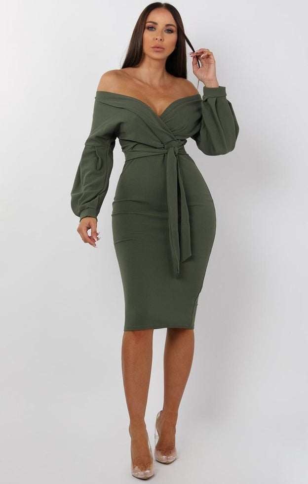 Khaki-belted-bodycon-midi-dress-Angelica