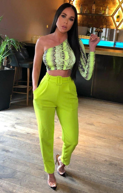 Lime Belted Tapered Cigarette Trousers - Molly
