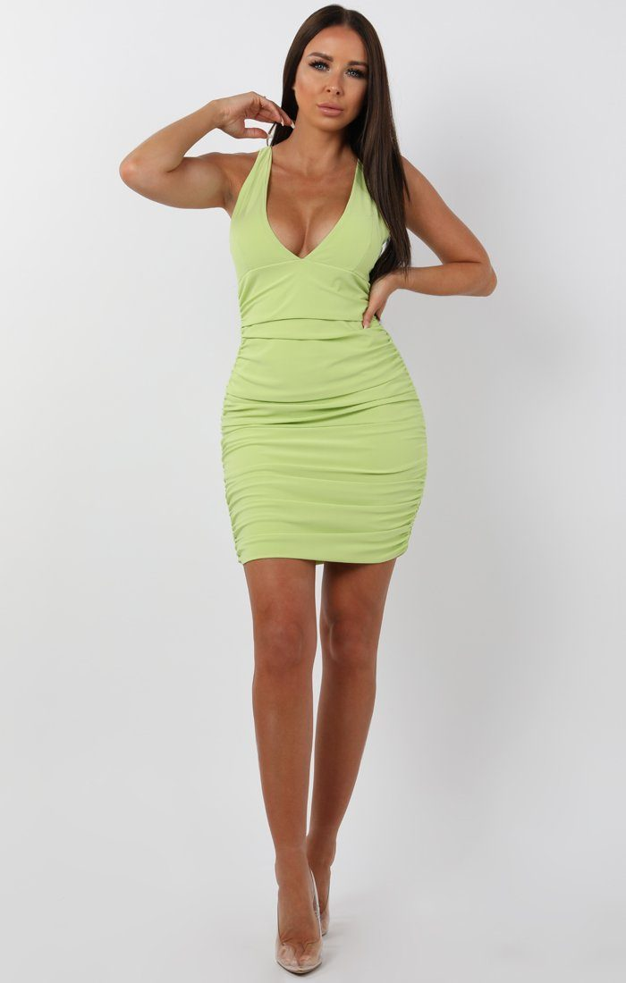 Lime ruched bodycon mini dress - amara