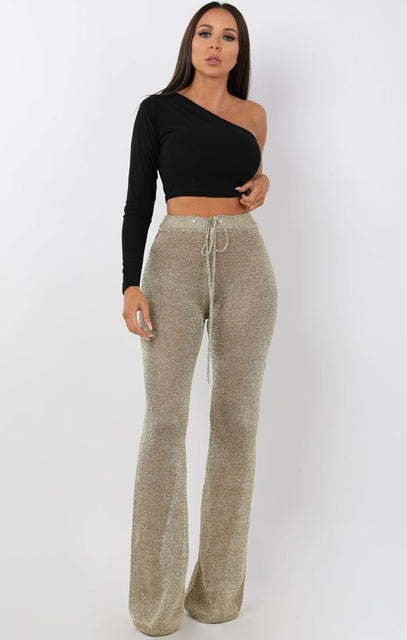 Metallic Knit Gold Trousers - Inaaya