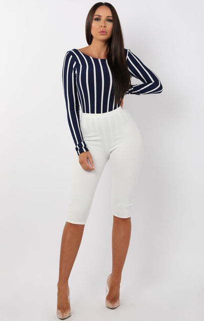 Navy Striped Open Back Bodysuit - Cathy