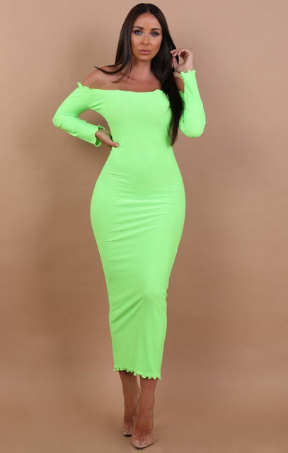 Neon Green Frill Detail Maxi Dress - Jaycee