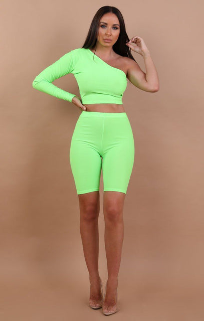 Neon Green One Shoulder Crop Top - Lola