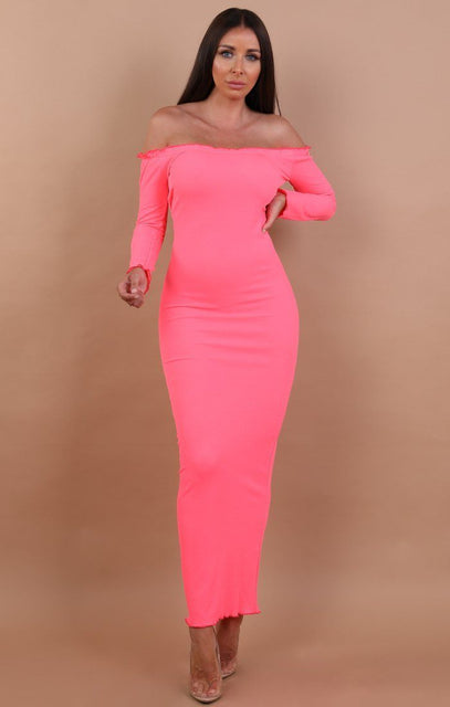 Neon Pink Frill Detail Maxi Dress - Jaycee