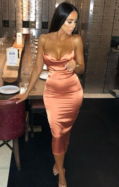 Orange Satin Cowl Neck Bodycon Midi Dress - Clarence