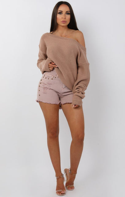 Pink Studded Distressed Denim Shorts - Lara