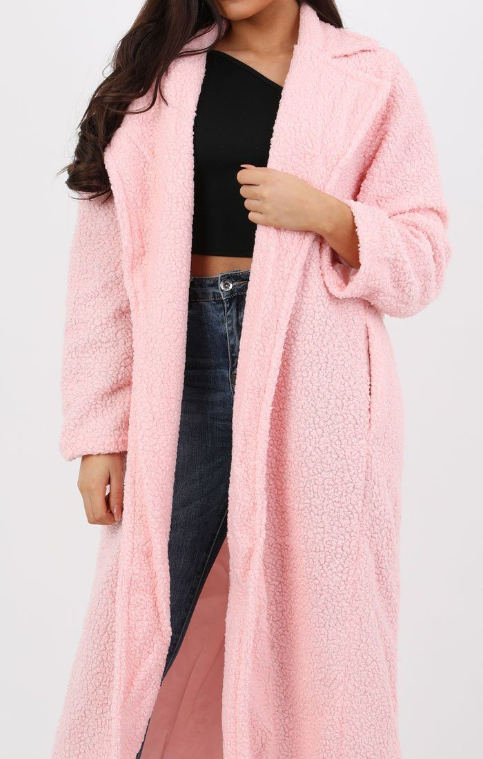 Pink Long Length Teddy Coat - Charlotte