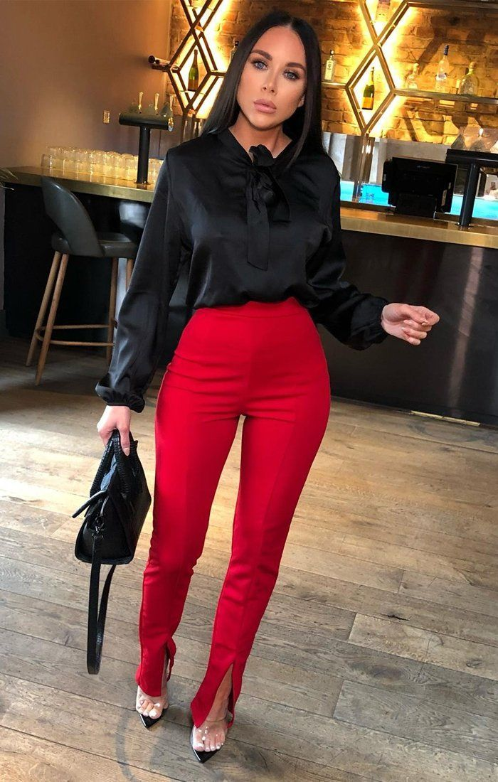 Red Long Split Fitted Trousers - Gianna