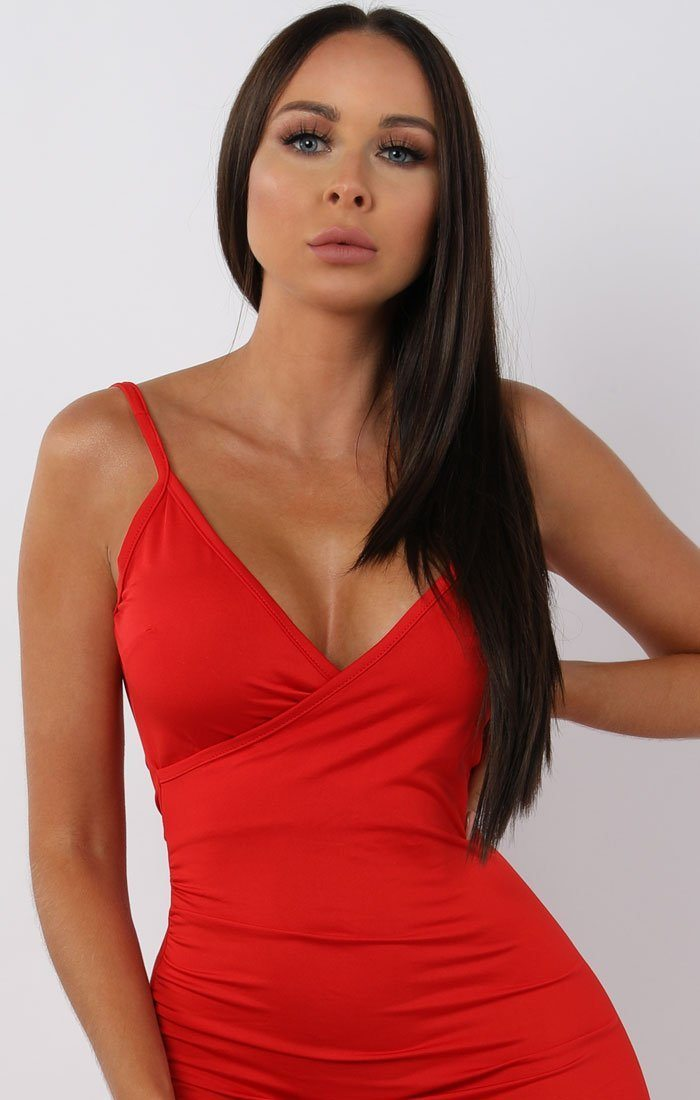 Red Open Back Split Leg Maxi Dress - Nikki