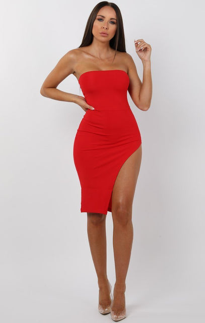 Red Split Leg Bandeau Mini Dress - Ailie