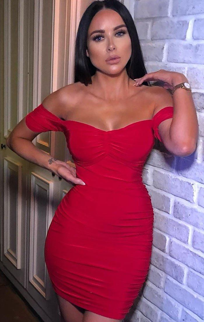 Red Ruched Bardot Slinky Mini Dress - Eva
