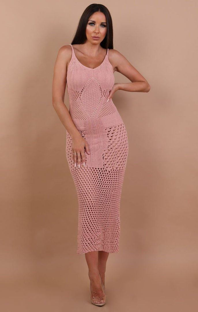 Rose Crochet Maxi Dress - Karla