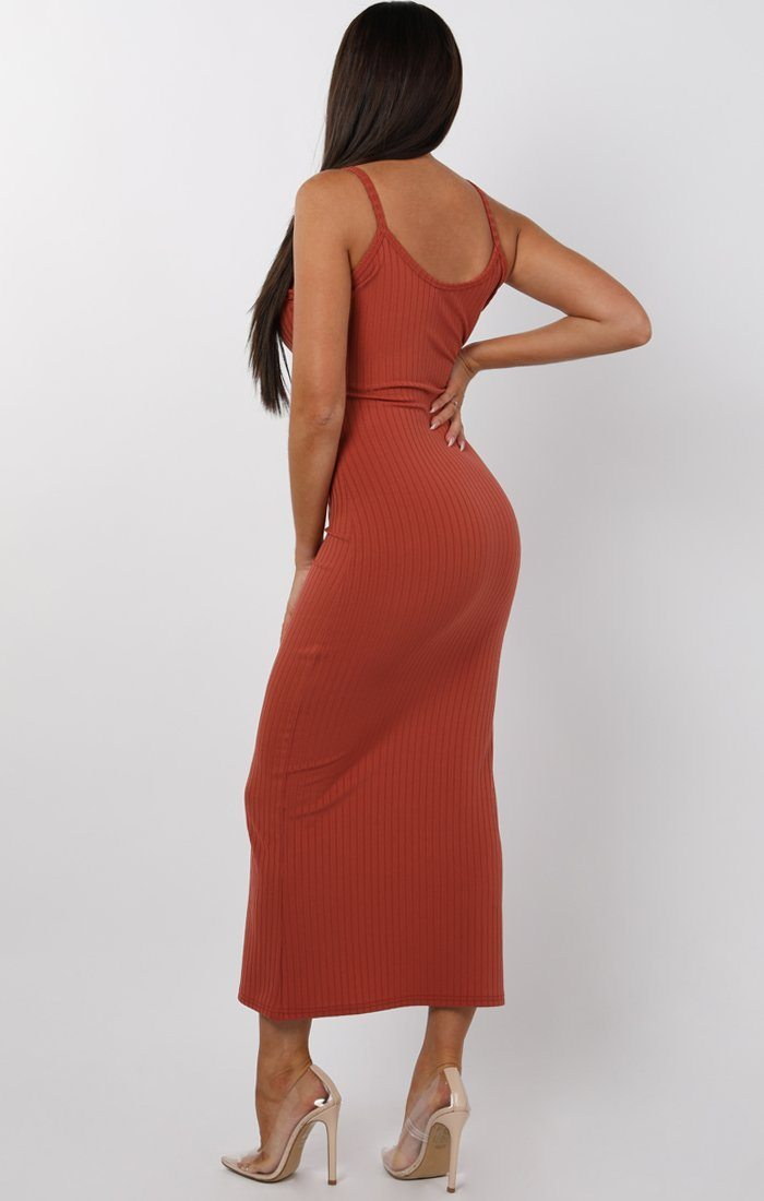 Rust Ribbed Knit Button Detail Maxi Dress - Kaitlyn