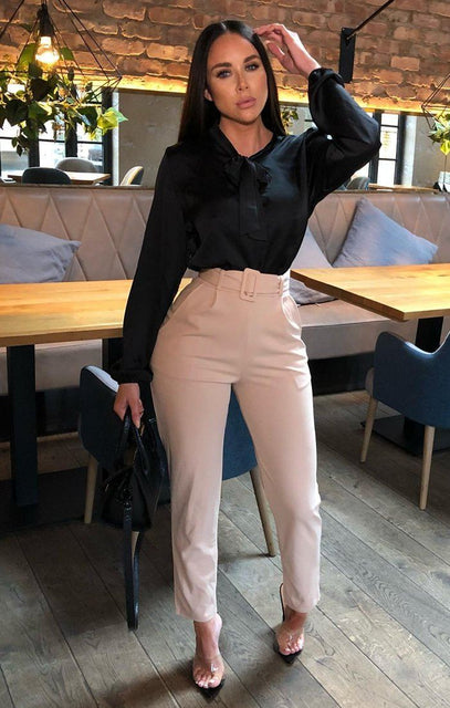 Stone Belted Tapered Cigarette Trousers - Molly