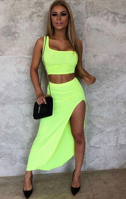 Neon Green One Shoulder Crop Top - Keeley