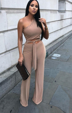 Beige One Shoulder Jumpsuits
