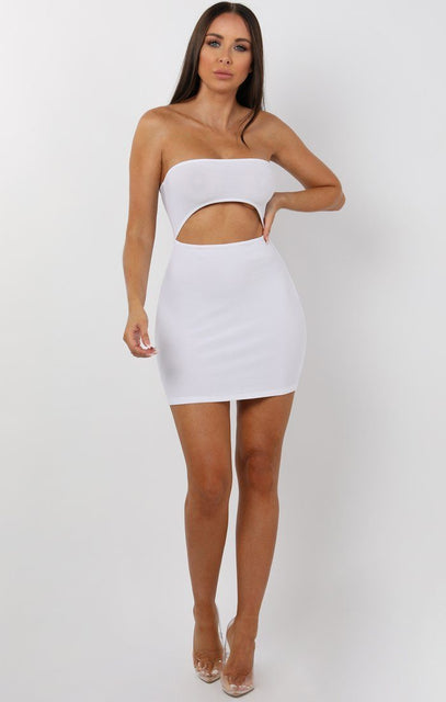 White Bandeau Cut Out Mini Dress - Leana