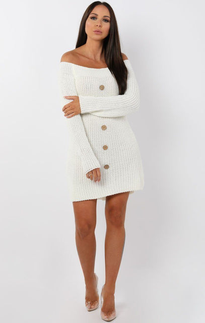 White Bardot Button Knit Jumper Dress - Mercy
