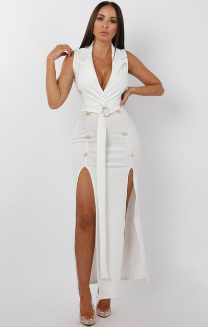 White Belted Button Split Leg Maxi Dress - Marisha