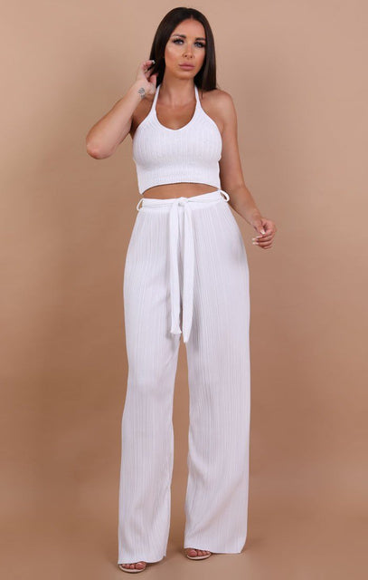 White Knit Halterneck Crop Top - Autumn