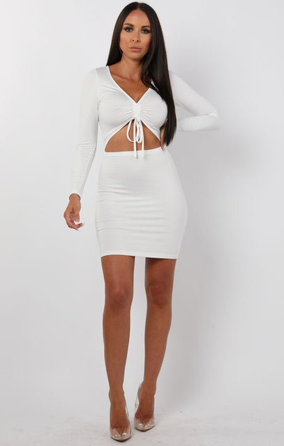 White Long Sleeve Cut Out Mini Dress - Piper
