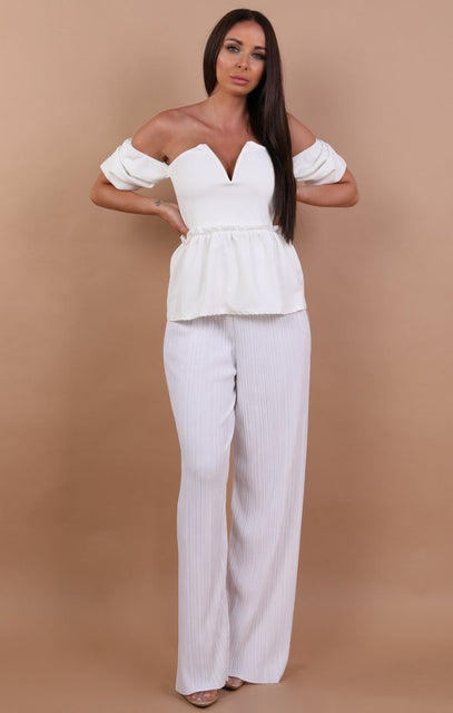 White Off Shoulder Plunge Top - Beth