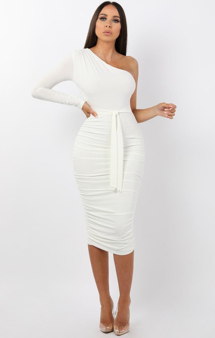 White One Shoulder Ruched Slinky Midi Dress - Savannah