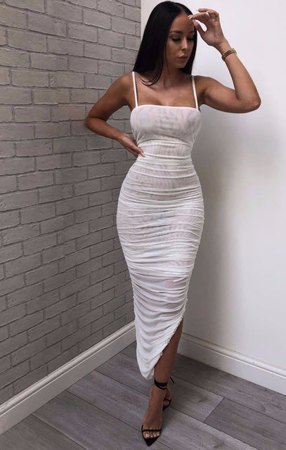 White Slinky Ruched Split Leg Maxi Dress - Mariah