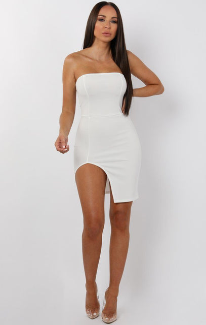 White Split Leg Bandeau Mini Dress - Ailie