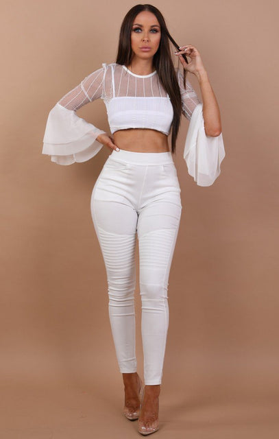 Striped Bell Sleeve Mesh Crop Top - Harper