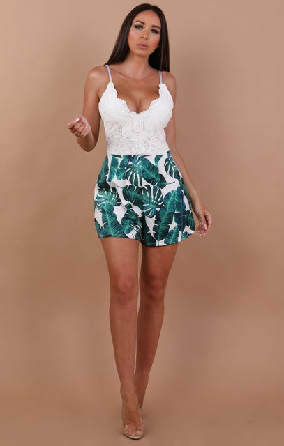 White Tropical Lace Top Playsuit - Leanne