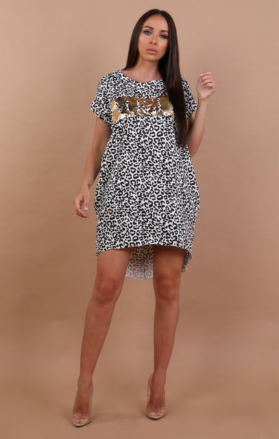 White Vogue Animal Leopard Print Oversized T-Shirt Dress - Kourtney