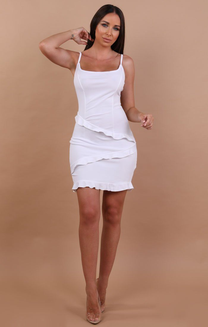 White Frill Mini Bodycon Dress - Kelly