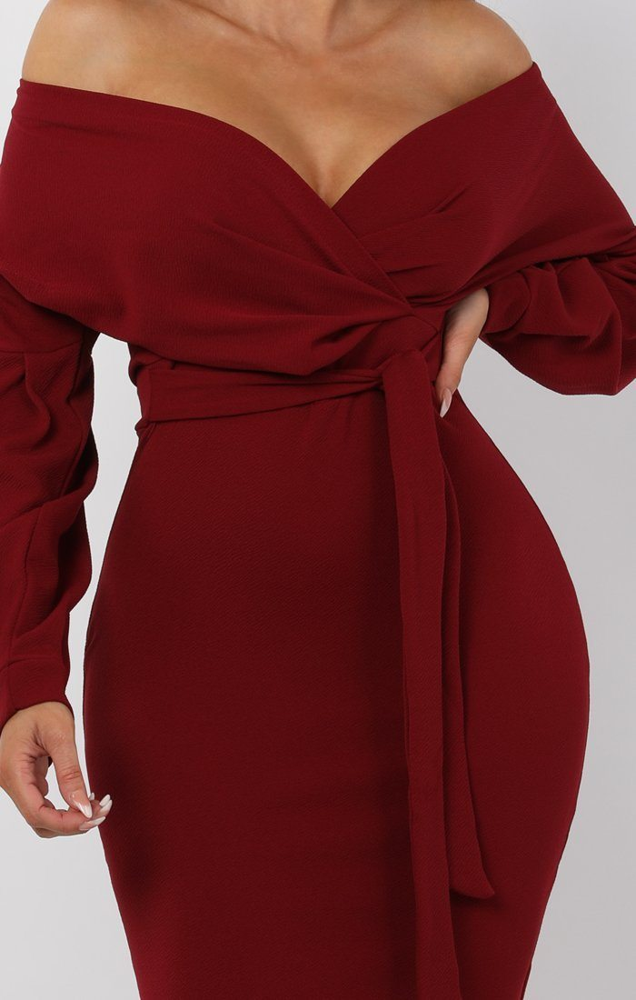 Wine Belted Bodycon Midi Dress - Angelica