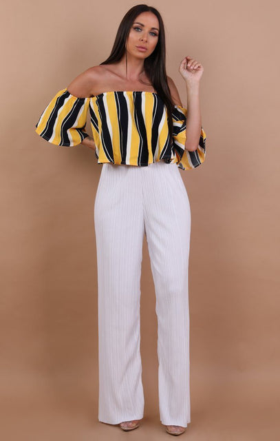 Yellow Striped Bardot Crop Top - Lucy